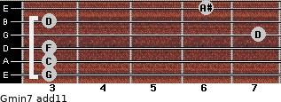 Gmin7(add11) for guitar on frets 3, 3, 3, 7, 3, 6