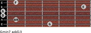 Gmin7(add13) for guitar on frets 3, 1, 0, 0, 5, 1