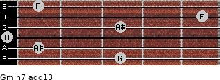 Gmin7(add13) for guitar on frets 3, 1, 0, 3, 5, 1