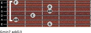 Gmin7(add13) for guitar on frets 3, 1, 2, 3, 3, 1
