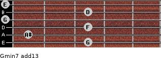 Gmin7(add13) for guitar on frets 3, 1, 3, 0, 3, 0