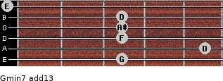 Gmin7(add13) for guitar on frets 3, 5, 3, 3, 3, 0