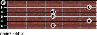 Gmin7(add13) for guitar on frets 3, 5, 3, 3, 5, 0