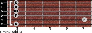 Gmin7(add13) for guitar on frets 3, 7, 3, 3, 3, 3