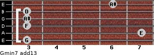 Gmin7(add13) for guitar on frets 3, 7, 3, 3, 3, 6