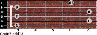 Gmin7(add13) for guitar on frets 3, 7, 3, 7, 3, 6