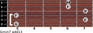 Gmin7(add13) for guitar on frets 3, 7, 3, 7, 6, 6