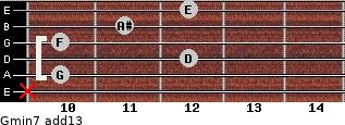 Gmin7(add13) for guitar on frets x, 10, 12, 10, 11, 12