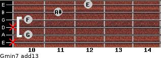 Gmin7(add13) for guitar on frets x, 10, x, 10, 11, 12