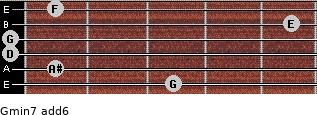 Gmin7(add6) for guitar on frets 3, 1, 0, 0, 5, 1