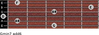 Gmin7(add6) for guitar on frets 3, 1, 0, 3, 5, 1