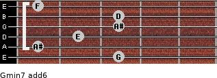 Gmin7(add6) for guitar on frets 3, 1, 2, 3, 3, 1