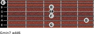 Gmin7(add6) for guitar on frets 3, 5, 3, 3, 3, 0