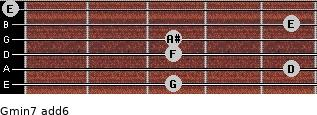 Gmin7(add6) for guitar on frets 3, 5, 3, 3, 5, 0