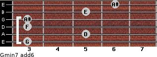 Gmin7(add6) for guitar on frets 3, 5, 3, 3, 5, 6