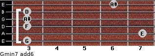 Gmin7(add6) for guitar on frets 3, 7, 3, 3, 3, 6
