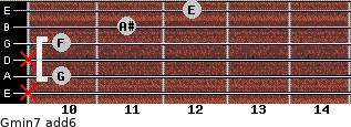 Gmin7(add6) for guitar on frets x, 10, x, 10, 11, 12