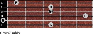 Gmin7(add9) for guitar on frets 3, 0, 5, 3, 3, 1