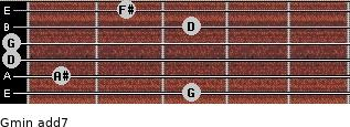 Gmin(add7) for guitar on frets 3, 1, 0, 0, 3, 2