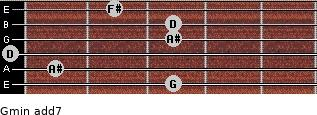 Gmin(add7) for guitar on frets 3, 1, 0, 3, 3, 2