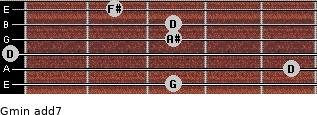 Gmin(add7) for guitar on frets 3, 5, 0, 3, 3, 2