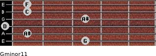 Gminor11 for guitar on frets 3, 1, 0, 3, 1, 1