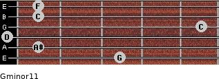 Gminor11 for guitar on frets 3, 1, 0, 5, 1, 1
