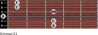 Gminor11 for guitar on frets 3, 3, 0, 3, 1, 1