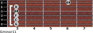 Gminor11 for guitar on frets 3, 3, 3, 3, 3, 6