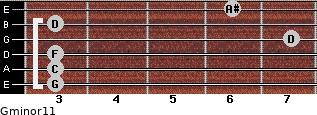 Gminor11 for guitar on frets 3, 3, 3, 7, 3, 6