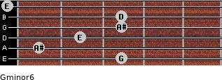 Gminor6 for guitar on frets 3, 1, 2, 3, 3, 0
