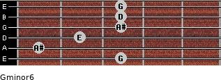 Gminor6 for guitar on frets 3, 1, 2, 3, 3, 3