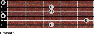 Gminor6 for guitar on frets 3, 5, 0, 3, 3, 0