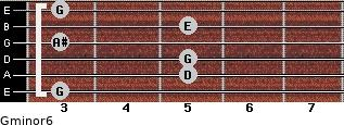 Gminor6 for guitar on frets 3, 5, 5, 3, 5, 3