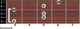 Gminor6 for guitar on frets 3, 5, 5, 3, 5, 6