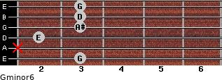 Gminor6 for guitar on frets 3, x, 2, 3, 3, 3