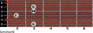 Gminor6 for guitar on frets 3, x, 2, 3, 3, x