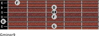 Gminor9 for guitar on frets 3, 0, 3, 3, 3, 1