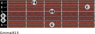 Gm(maj9/13) for guitar on frets 3, 0, 0, 3, 5, 2