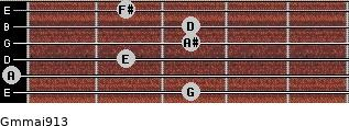 Gm(maj9/13) for guitar on frets 3, 0, 2, 3, 3, 2