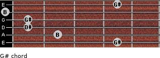 G#- for guitar on frets 4, 2, 1, 1, 0, 4