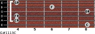 G#11/13/C for guitar on frets 8, 4, 4, 8, 6, 4