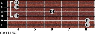 G#11/13/C for guitar on frets 8, 8, 4, 6, 4, 4