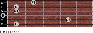 G#11/13b5/F for guitar on frets 1, 4, 0, 1, 1, 2