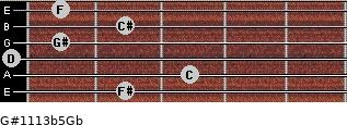 G#11/13b5/Gb for guitar on frets 2, 3, 0, 1, 2, 1