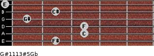 G#11/13#5/Gb for guitar on frets 2, 3, 3, 1, 2, 0