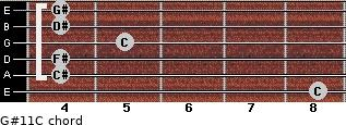 G#11/C for guitar on frets 8, 4, 4, 5, 4, 4