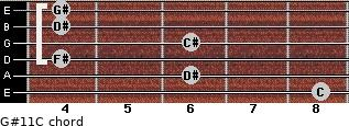 G#11/C for guitar on frets 8, 6, 4, 6, 4, 4