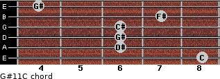 G#11/C for guitar on frets 8, 6, 6, 6, 7, 4