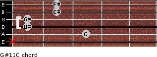 G#11/C for guitar on frets x, 3, 1, 1, 2, 2